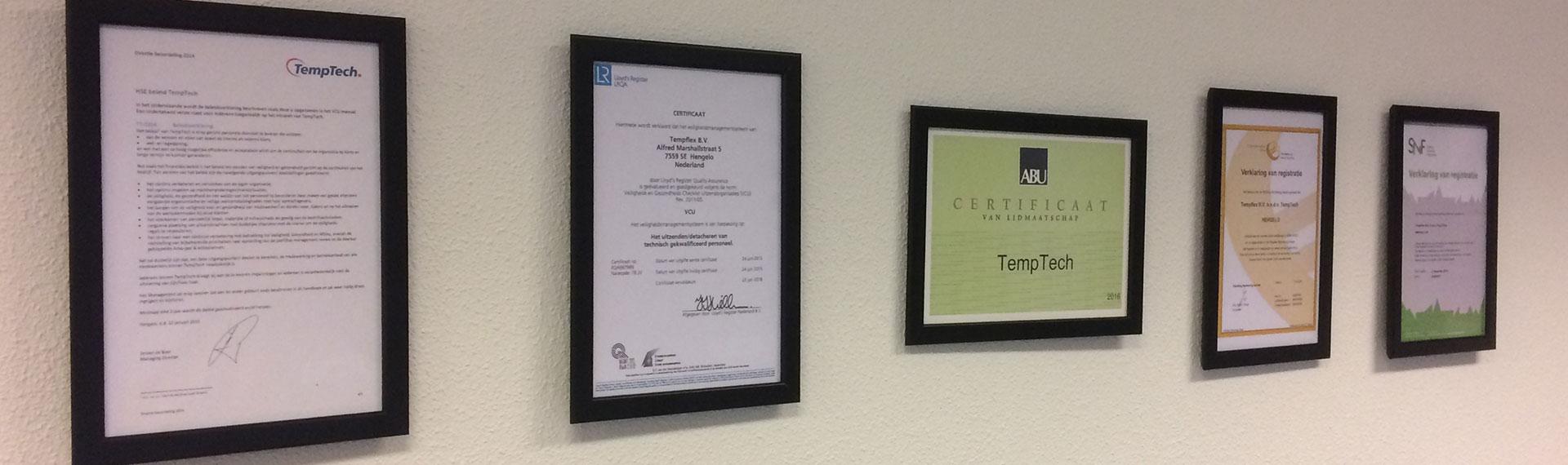 Onze certificering.